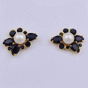 💖Kate Spade Zircon Pearl Flower Black Earrings